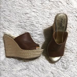 brown faux leather wedges with wicker bottoms